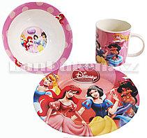 Набор детской посуды Dinner Set 3 Принцессы Диснея чашка тарелка кружка (розовый)