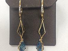 Серьги  с бриллиантом и Лондон топазом «Blue night » / жёлтое золото