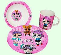 Набор детской посуды Dinner Set 3 Куклы LOL чашка тарелка кружка (розовый с сердечками)