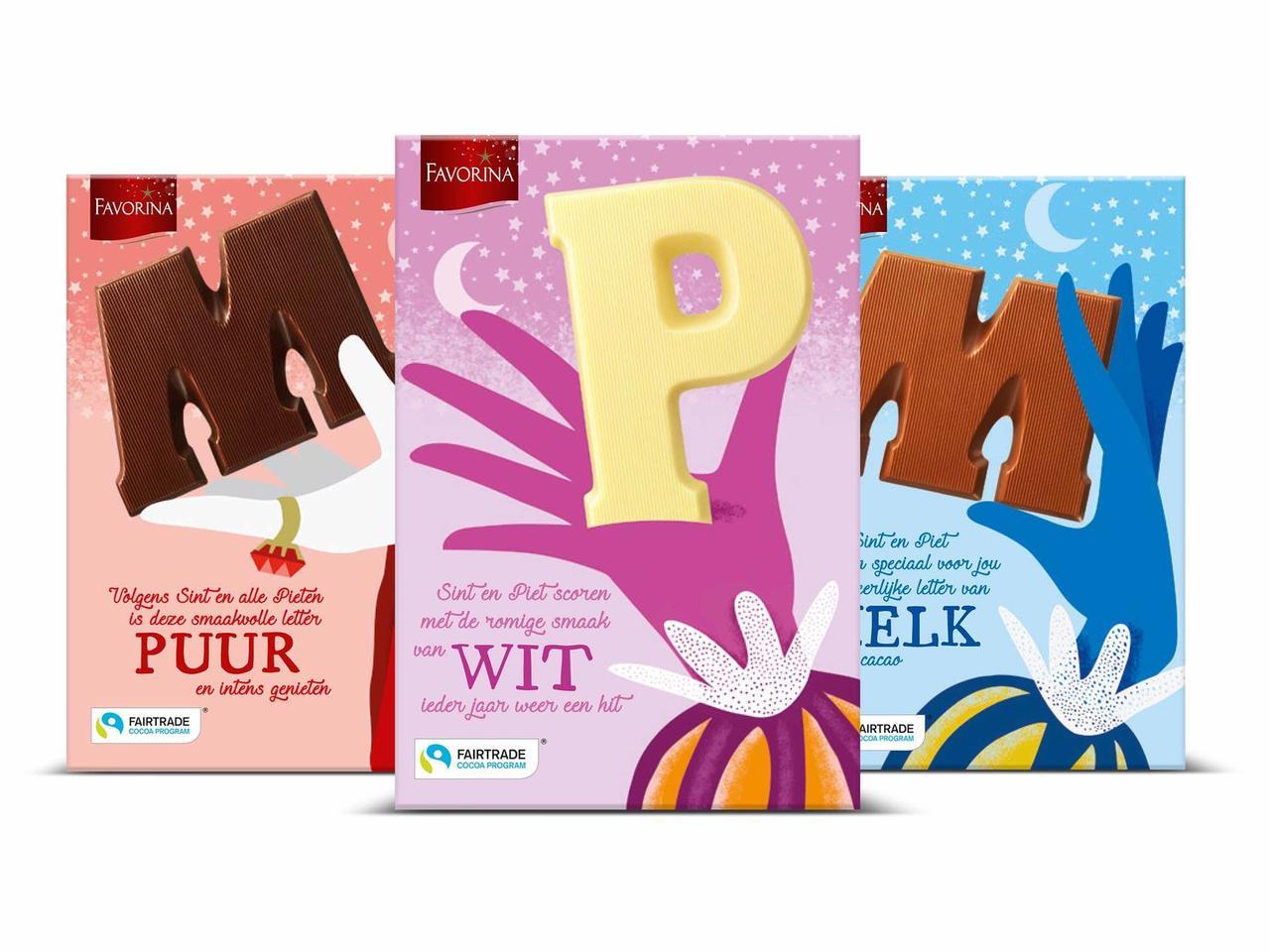Шоколадные буквы в ассортименте Favorina