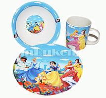 Набор детской посуды Dinner Set 3 Принцессы Диснея чашка тарелка кружка (пять принцесс)