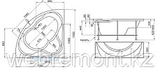 Акриловая гидромассажная ванна Люкс (Luxe)155*155 см. Общий массаж. 1 Marka. Россия, фото 3