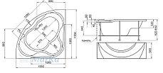 Акриловая гидромассажная ванна Люкс (Luxe)155*155 см. Общий массаж, спина. 1 Marka. Россия, фото 3