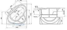 Акриловая гидромассажная ванна Люкс (Luxe)155*155 см. Общий массаж, спина, ноги, дно. 1 Marka. Россия, фото 3