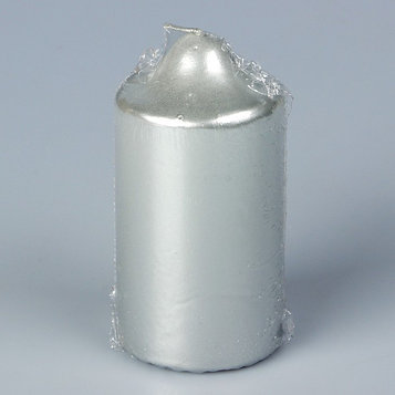 Свеча бочонок, плёнка, серебряная, 5х10см 50708210