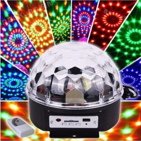 Диско-шар с МР3-плеером LED CRYSTAL MAGIC BALL LIGHT ver.2 {USB, microSD, пульт ДУ} - фото 1