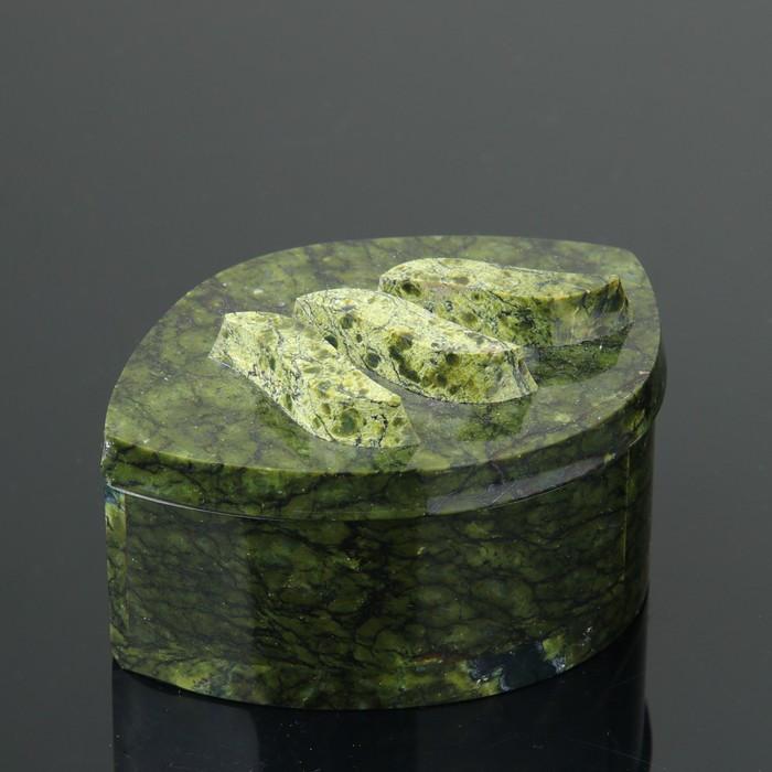 "Шкатулка ""Листик"", 12х8х6 см, змеевик"
