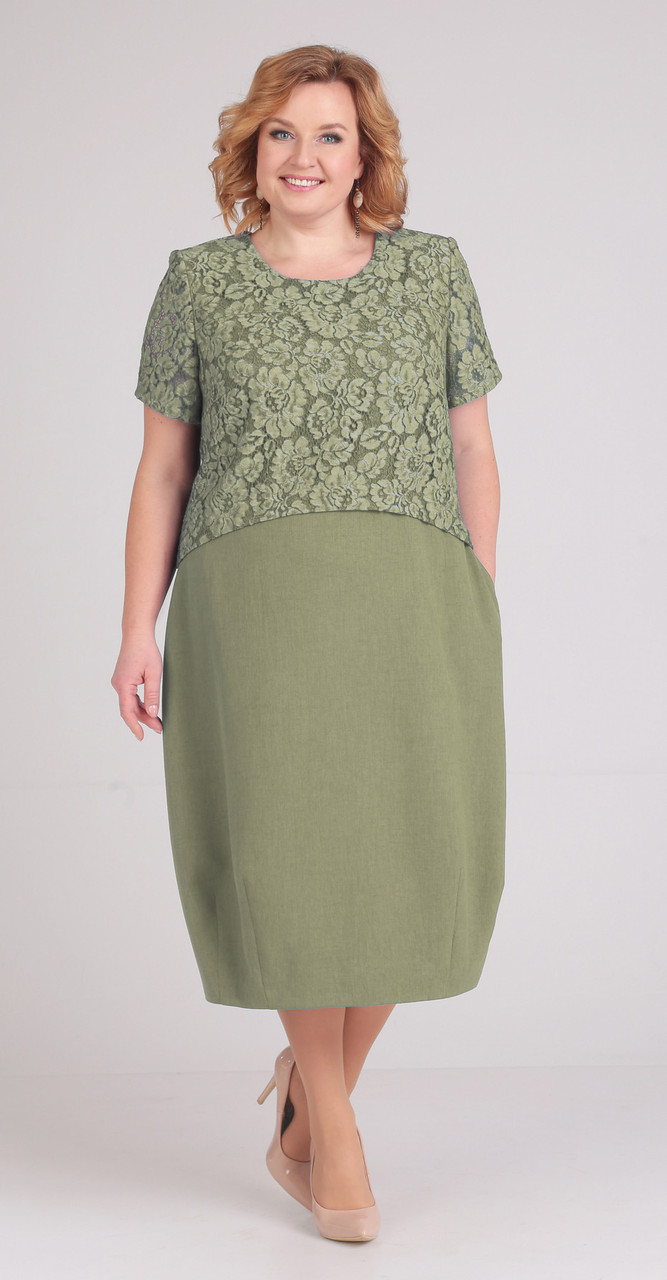 Платье Elga-594/1, олива, 60