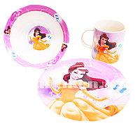 Набор детской посуды Dinner Set 3 Принцесса Белль чашка тарелка кружка (Красавица и чудовище)