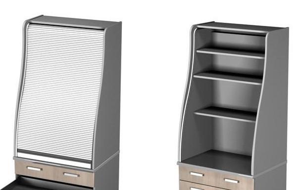 Стеллаж с роллетой  (Полки ДСП) для мини-кухни Ф11/М1