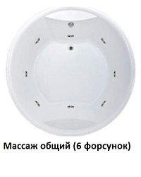 Акриловая гидромассажная ванна Омега 180x180 круглая