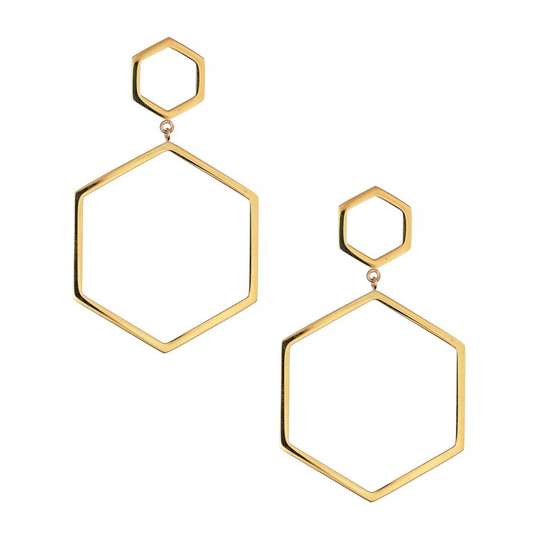 Серьги - кольца Brosh Jewellery Итальянская сталь. (Золото)