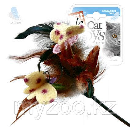 GigWi, ГигВи Дразнилка с перьями  на  стеке.Размер: 43+12 см.