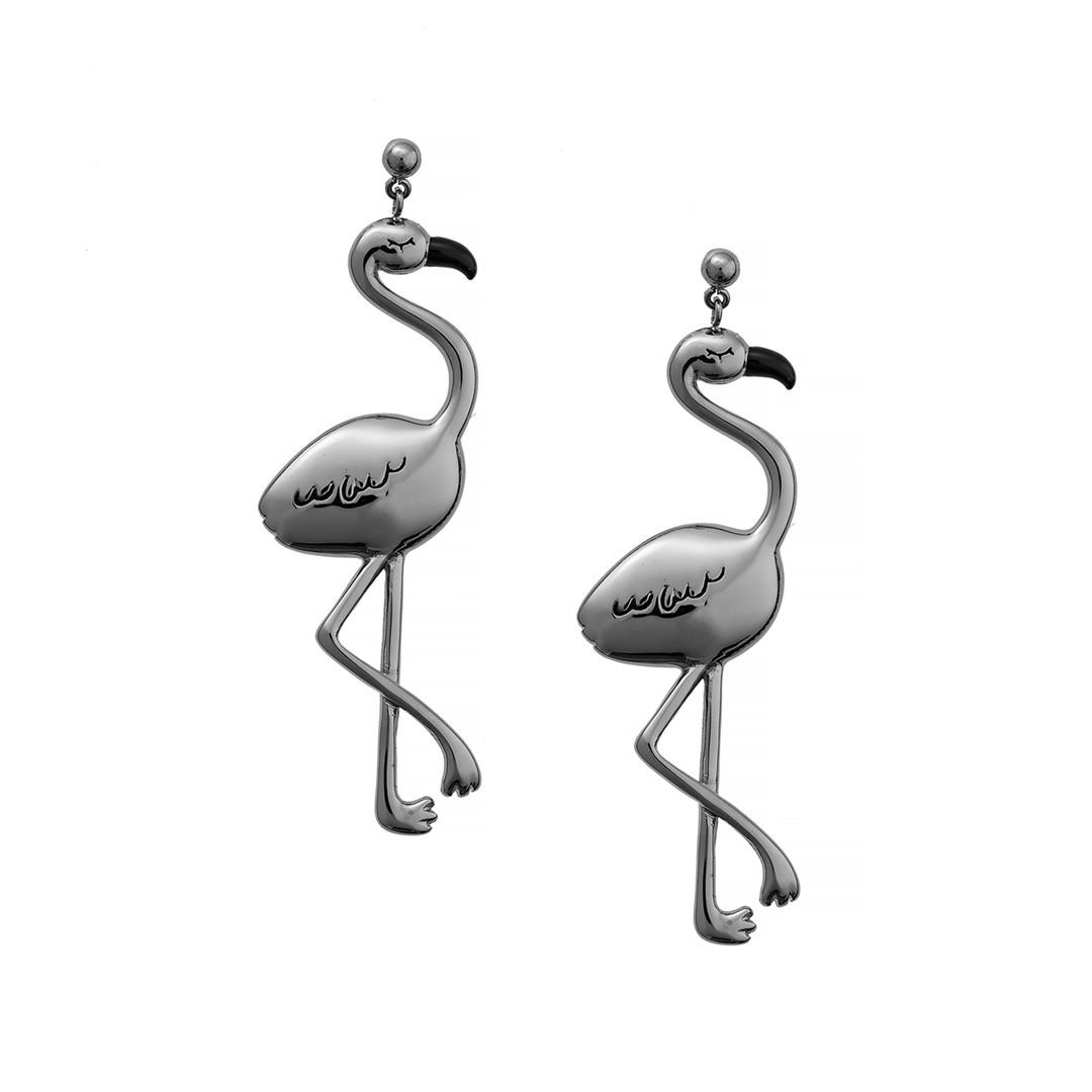 Серьги Фламинго Brosh Jewellery Итальянская сталь. (Серебро)