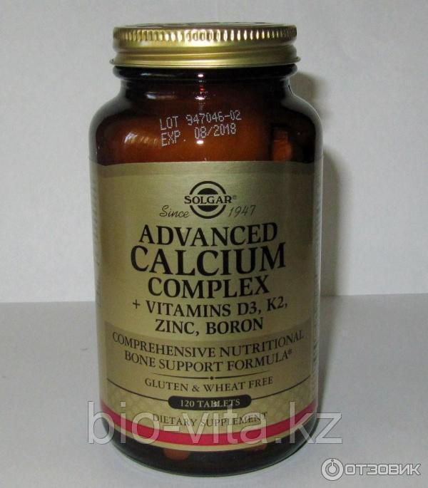 Кальций с витаминами D3, К2, цинком и бором, 120 таблеток. Solgar
