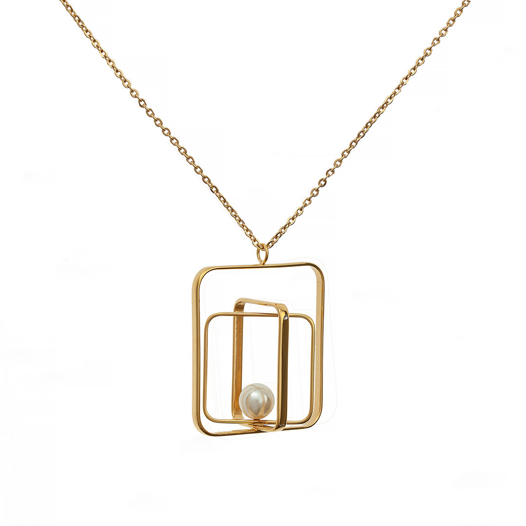 Колье с Жемчугом Brosh Jewellery. Итальянская сталь. Цвет; золото