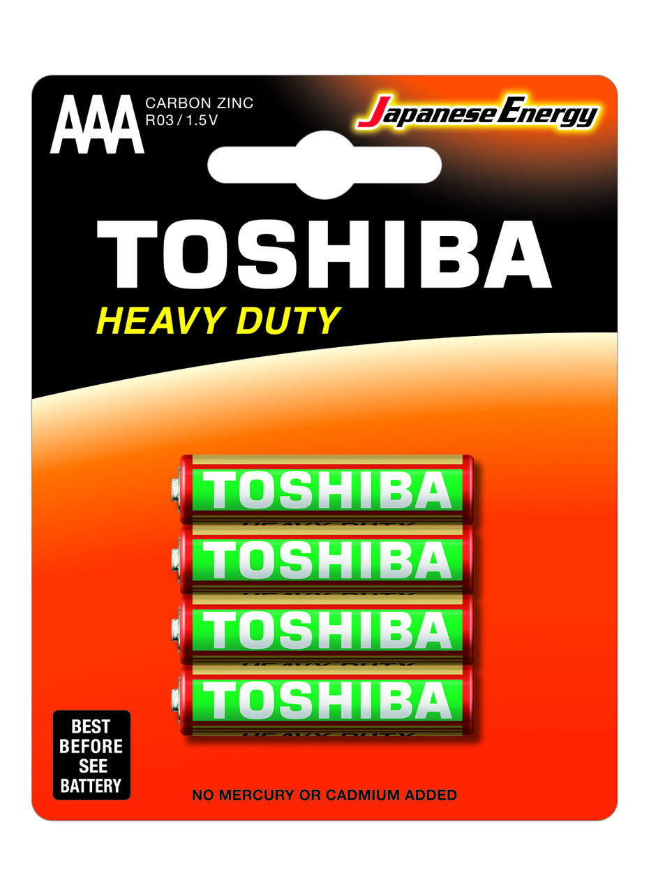 Цинковые батарейки Toshiba HEAVY DUTY R03KG BP-4TGTE SS AAA
