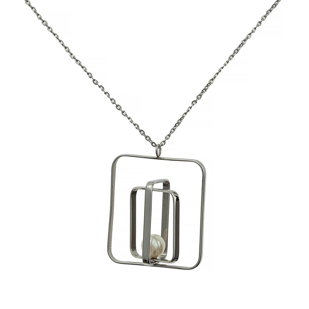 Колье с Жемчугом Brosh Jewellery. Итальянская сталь. Цвет;серебро.