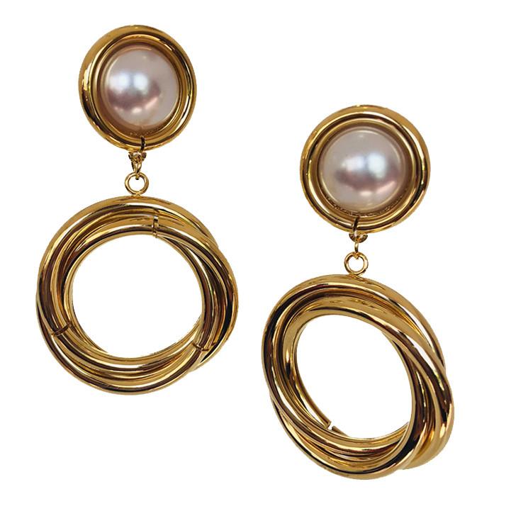 Вечерние серьги кольца с Жемчугом Brosh Jewellery. Цвет; золото.