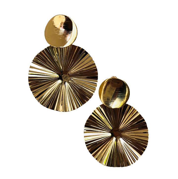 Металлические круглые серьги Brosh Jewellery. Цвет - золото.