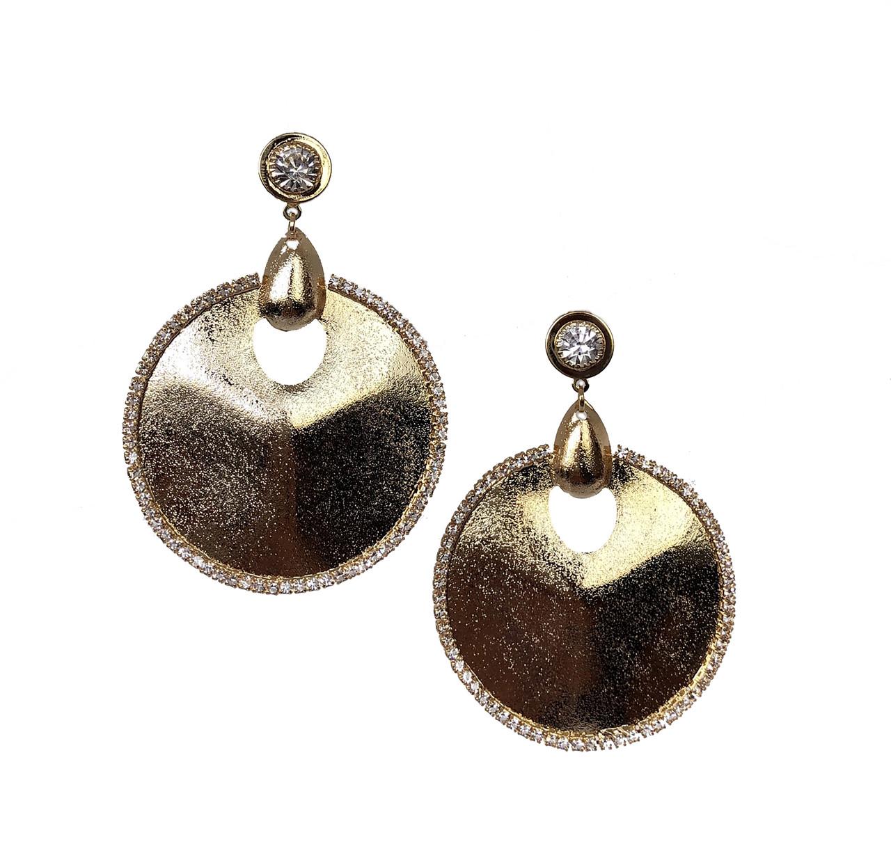 Вечерние серьги Brosh Jewellery. Цвет- золото.