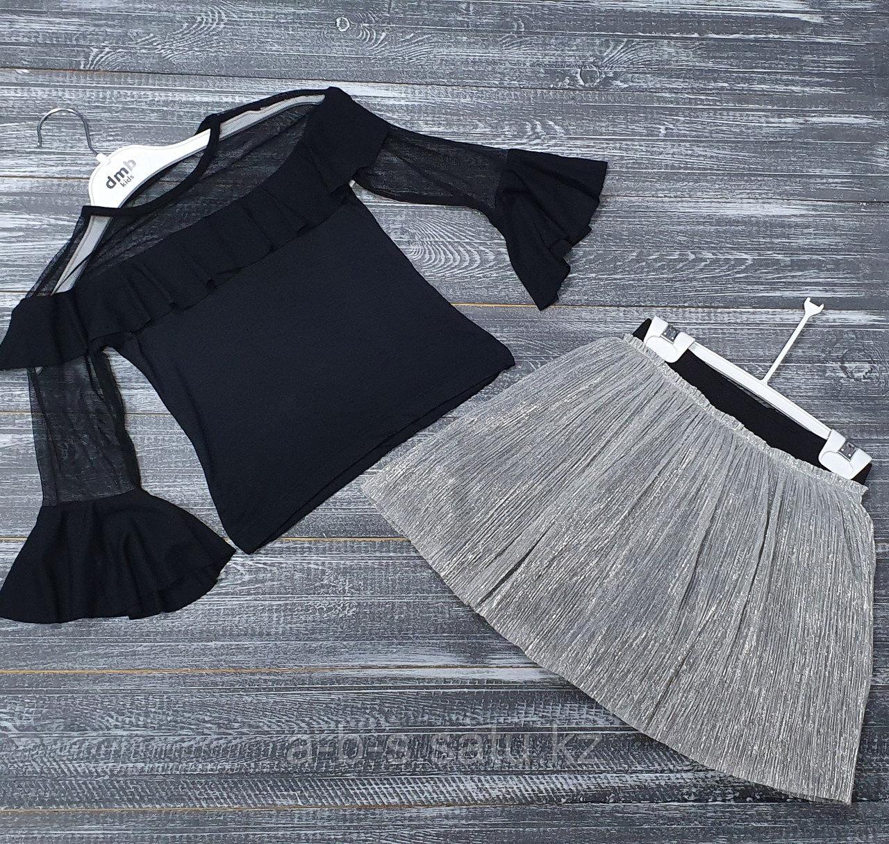 Комплект двойка: черная кофта, юбка серебро
