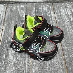 Кроссовки сетчатые, салатово-черные
