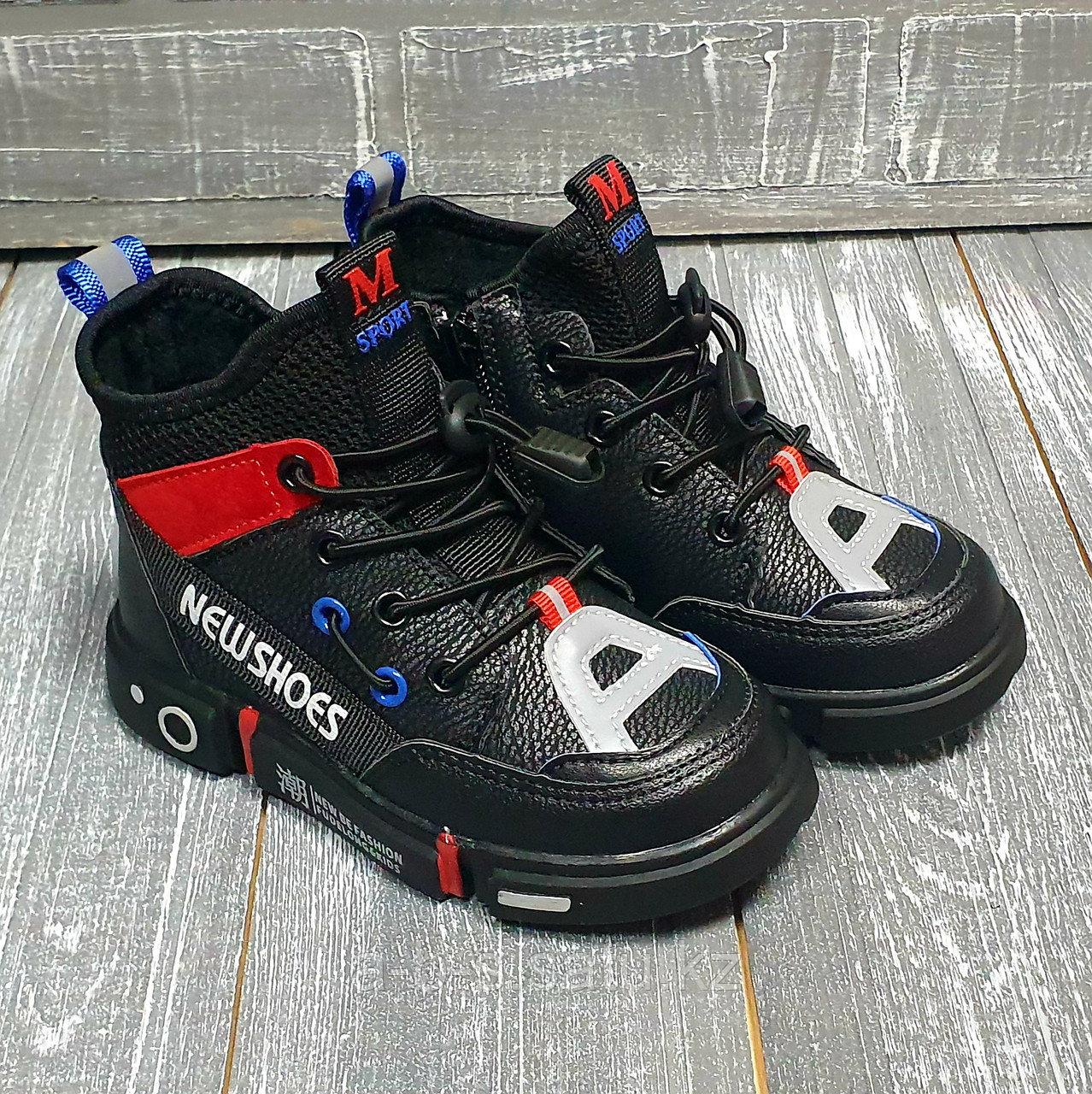 Ботинки черные shoes, красно-черные