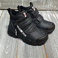 Ботинки черные, с прорезиненным носом на липучках