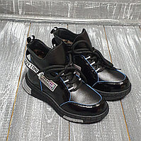 Ботинки черные на шнуровке с липучкой