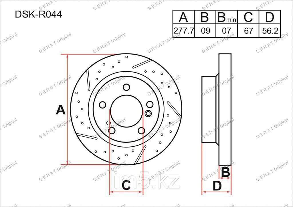 Тормозные диски Mercedes SLK-Класс. W171 2004-2011 3.0i (Задние)