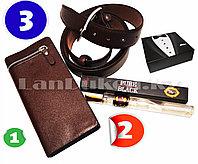 Мужской подарочный набор Джентльмен портмоне ремень туалетная вода Бокс подарочный для мужчины (коричневый)