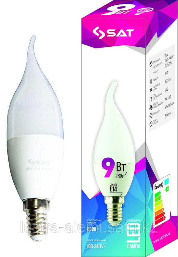 Лампа свеча  SAT 9вт E14 6000К