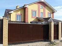 Ворота из профнастила с калиткой и автоматикой 5400х2500, фото 1