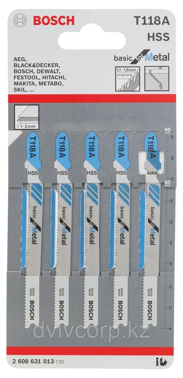 5 Лобзиковых пилок Т118 А, HSS BOSCH арт. 2608631013