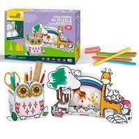 CubicFun Пазл-раскраска, Сова и жираф, 5 фломастеров в комплекте.
