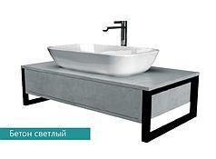 Столешница с раковиной GRUNGE LOFT 90 см. (1 ящик). Серый бетон.