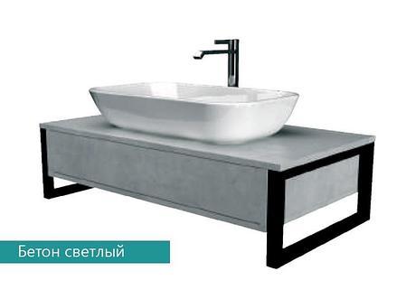 Столешница с раковиной GRUNGE LOFT 90 см. (1 ящик). Серый бетон., фото 2