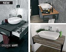 Столешница с раковиной GRUNGE LOFT 100 см. (1 ящик). Серый бетон., фото 3