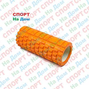 Массажный валик (ролик) для фитнеса и йоги 33 см (цвет оранжевый), фото 2