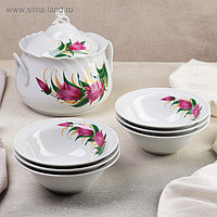 Набор для пельменей «Колокольчики», 7 предметов: ваза для супа 2,2 л, 6 мисок, 600 мл