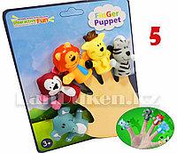 Пальчиковые куклы Зоопарк игрушки на палец Животные Пальчиковый театр (пять звериных фигурок)
