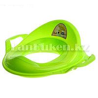 Накладка детская для унитаза с ручками детская сидушка на унитаз зеленая (11107)