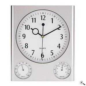 Настенные часы SATURN прямоугольные, с гигрометром/термометром