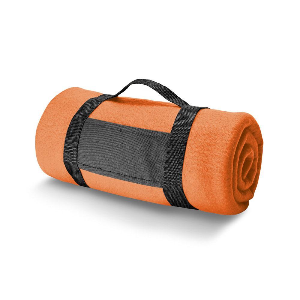 Плед флисовый с ручкой, оранжевый