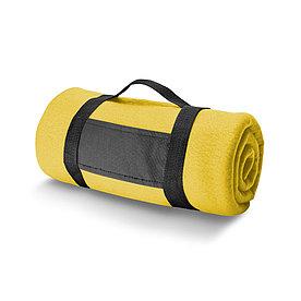 Плед флисовый с ручкой, желтый
