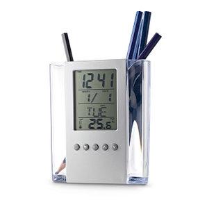 Подставка для ручек, акрил, с календарем, будильником и термометром