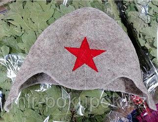 Банная шапка из войлока  с надписью