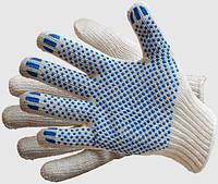 Перчатки трикотажные ХБ с ПВХ точкой. Класс вязки 10. Кол-во нитей 5.