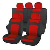 Чехлы сиденья Skyway SMART, полиэстер, 9 предметов, черно-красный